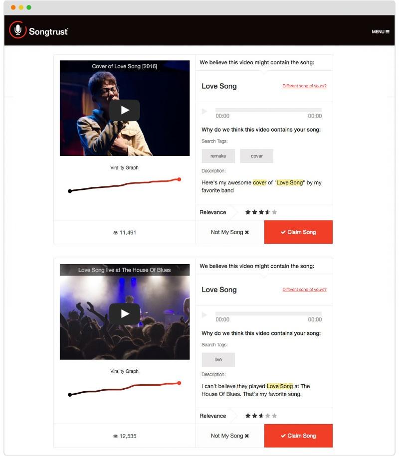 Songtrust's YouTube Monitor